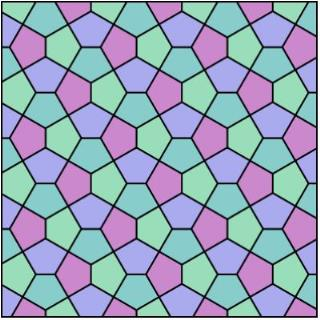 An example of Cairo tiling. Source: Wikimedia Commons. Tiling Dual Semiregular V3-3-4-3-4 Cairo Pentagonal by R. A. Nonenmacher - Created by me. Licensed under GFDL via Wikimedia Commons - http://commons.wikimedia.org/wiki/File:Tiling_Dual_Semiregular_V3-3-4-3-4_Cairo_Pentagonal.svg#mediaviewer/File:Tiling_Dual_Semiregular_V3-3-4-3-4_Cairo_Pentagonal.svg